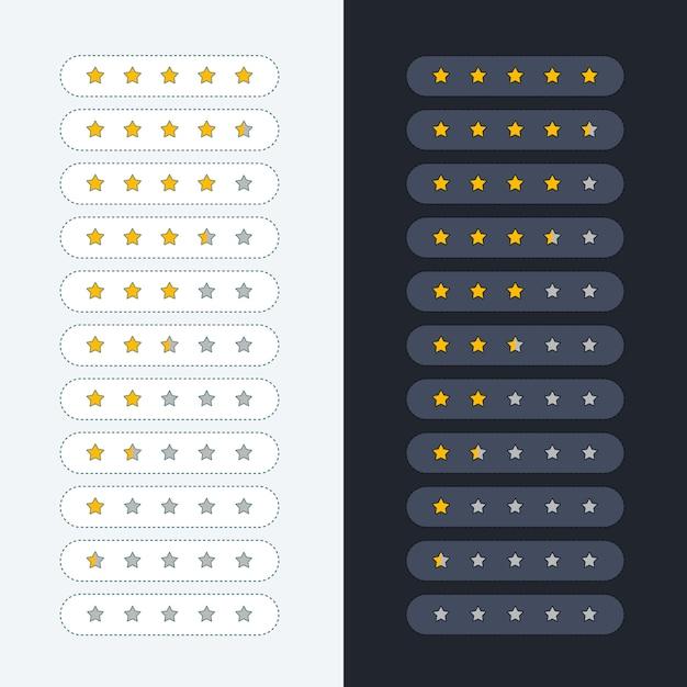 Symbole de classement des étoiles claires et sombres Vecteur gratuit