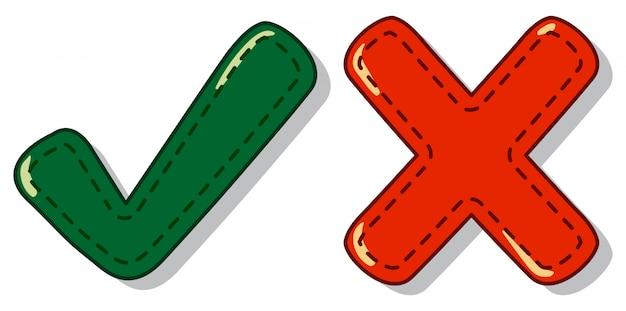 Symbole de contrôle et de croix Vecteur Premium