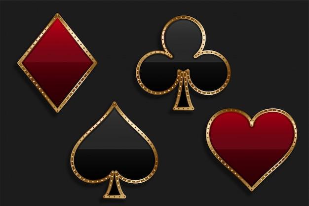 Symbole de costume de carte à jouer dans le style de luxe brillant Vecteur gratuit