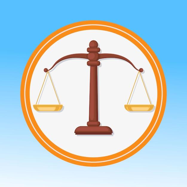 Symbole de la cour, échelles Vecteur Premium