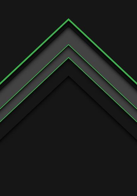 Symbole de direction flèche abstraite ligne verte sur fond sombre. Vecteur Premium