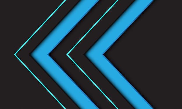 Symbole de direction flèche double bleu abstrait sur fond sombre. Vecteur Premium