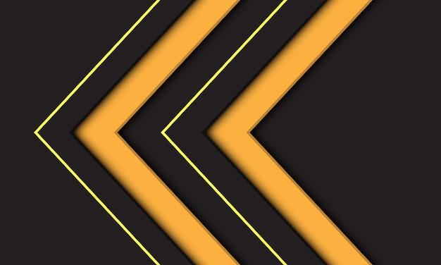 Symbole de direction flèche jaune double abstraite sur fond gris foncé. Vecteur Premium