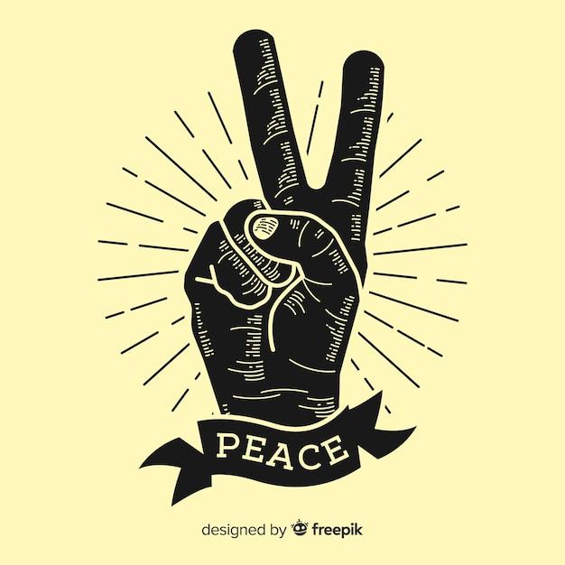 Symbole De Doigts De La Paix Classique Avec Style Vintage Vecteur gratuit
