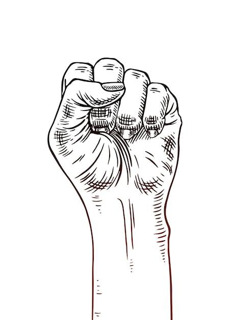 Symbole Du Mouvement Féministe. Main De Femme Avec Un Poing Levé Vecteur Premium