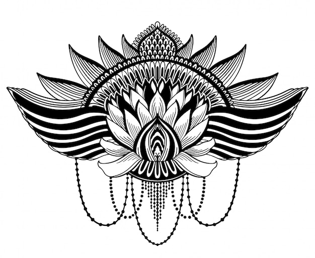 Symbole ethnique fleur de lotus Vecteur Premium