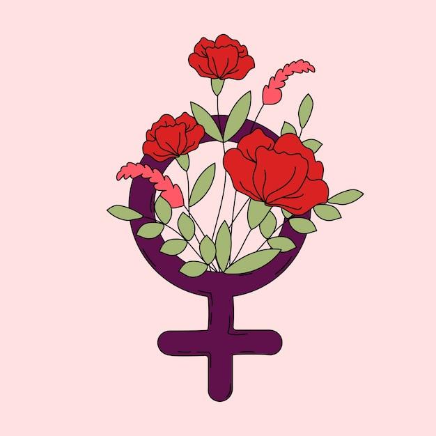 Symbole de la femme avec le vecteur de fleurs et feuilles Vecteur gratuit