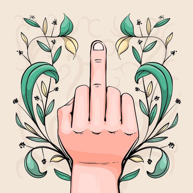 Symbole Floral Du Majeur Baise Toi Vecteur gratuit
