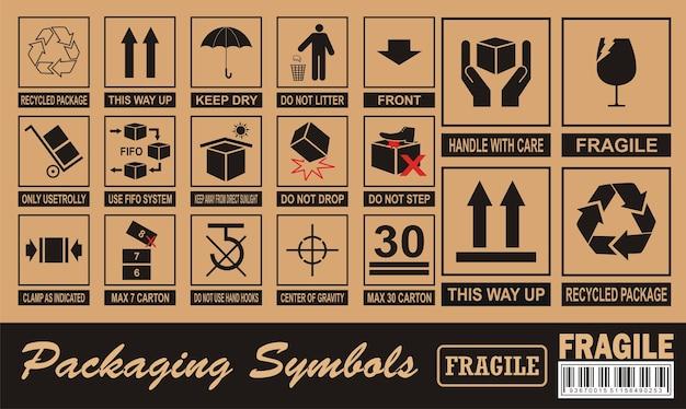 Symbole Fragile Sur Carton Vecteur Premium