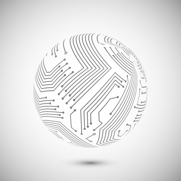 Symbole Globe De Circuit Imprimé Vecteur gratuit