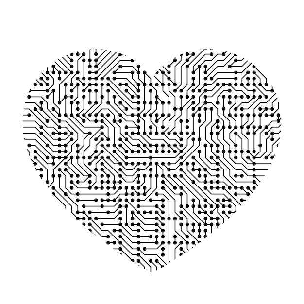Symbole D'icône De Coeur D'amour De Composant De Carte, Puce Et Radio Imprimé Noir. Vecteur Premium