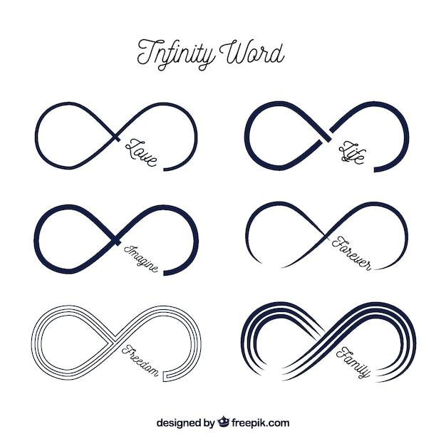 Symbole infini moderne avec collection de mots Vecteur gratuit