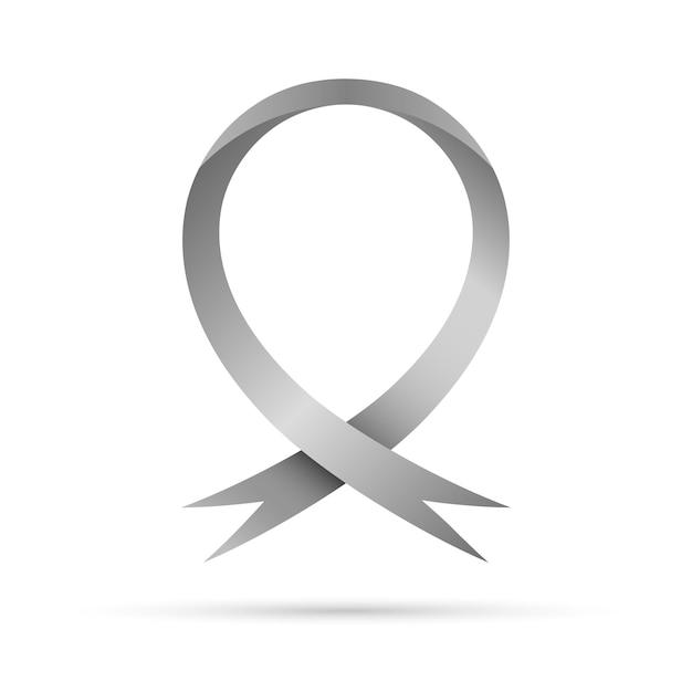 Symbole De La Journée Mondiale De La Maladie De Parkinson. Ruban De Conscience Gris, Isolé. Symbole Des Troubles Cérébraux Vecteur Premium