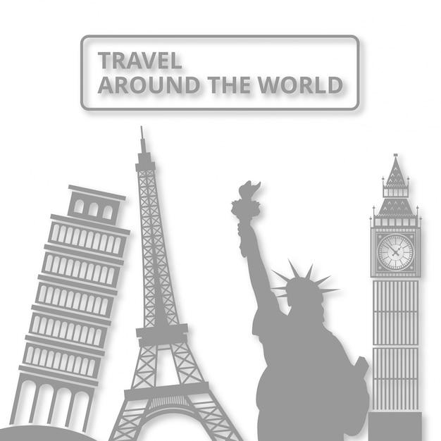 Symbole landmar mondial voyage autour du monde Vecteur gratuit
