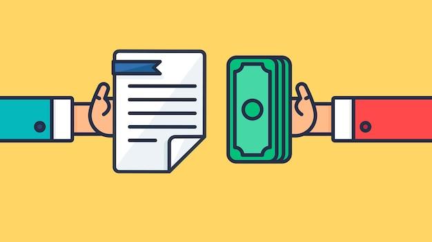 Symbole de paiement et de document Vecteur Premium