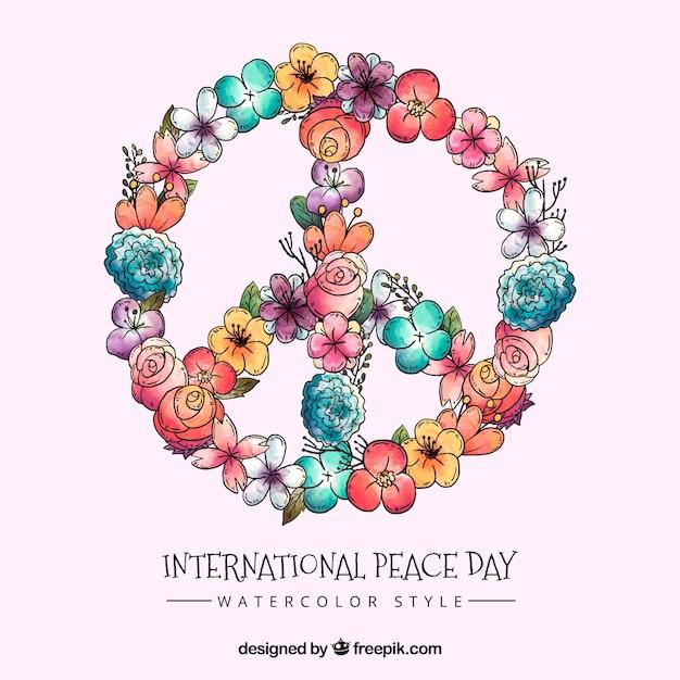 Symbole De Paix Floral Aquarelle Vecteur gratuit