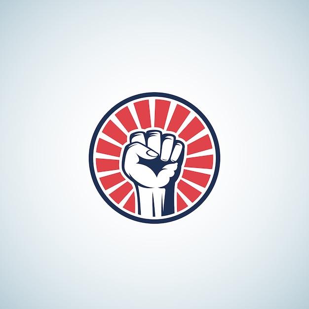 Symbole De Poing De Rébellion Activiste Rouge Et Bleu. Abstrait Vecteur gratuit