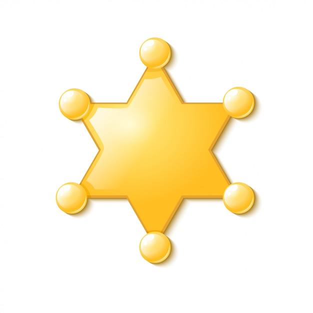 Symbole police usa. shérif étoile. isolé Vecteur Premium