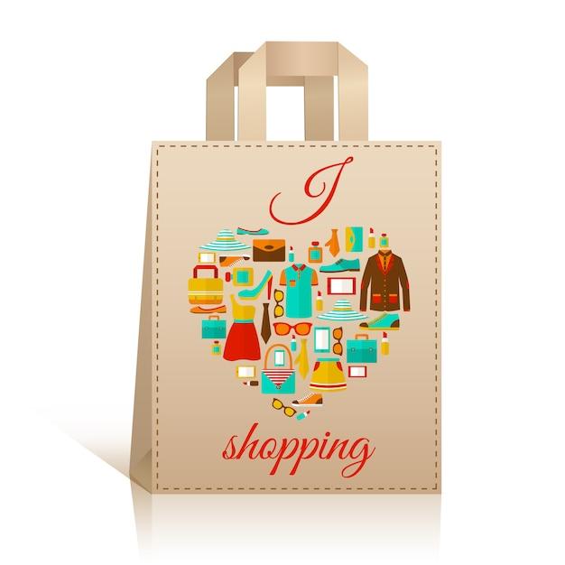 Symbole de sac shopping coeur d'amour Vecteur Premium