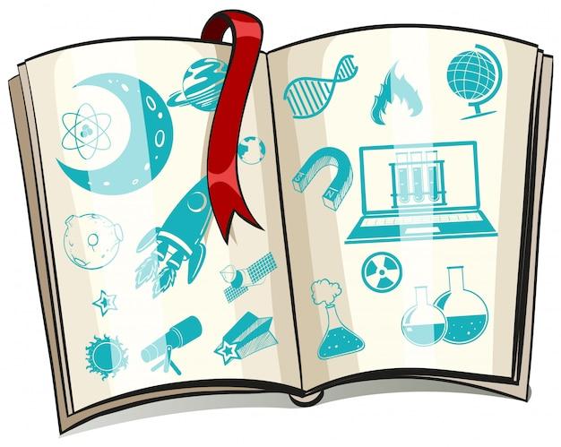 Symbole de la science sur un livre Vecteur gratuit