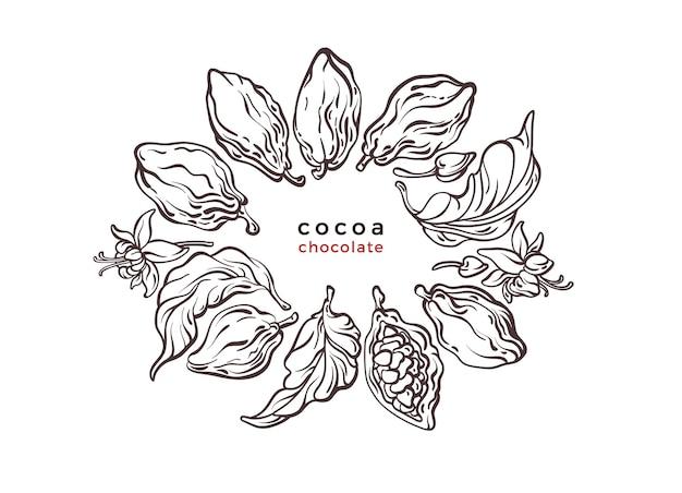 Symbole De Texture Cacao Choco Branche D'arbre Haricot Fruits étiquette Graphique Vecteur Premium