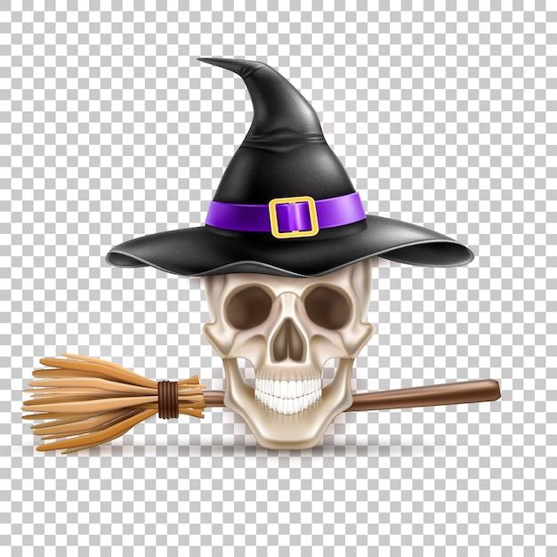 Symbole De Vacances Halloween Crâne Réaliste En Chapeau Pointu De Sorcière Vecteur Premium