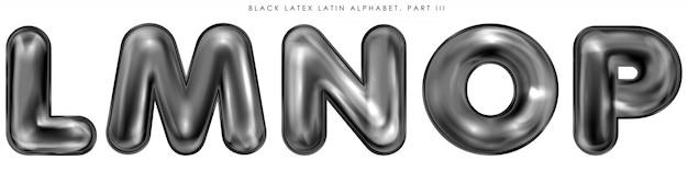 Symboles alphabet gonflés au latex noir, lettres isolées lmnop Vecteur Premium