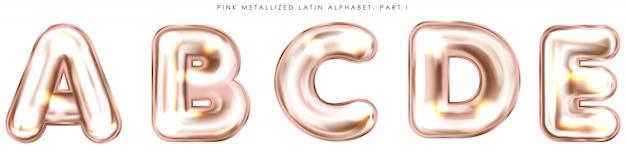 Symboles alphabet gonflés de feuille rose perl, lettres isolées abcde Vecteur Premium