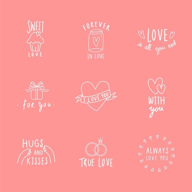 Symboles de l'amour icon set vector Vecteur gratuit