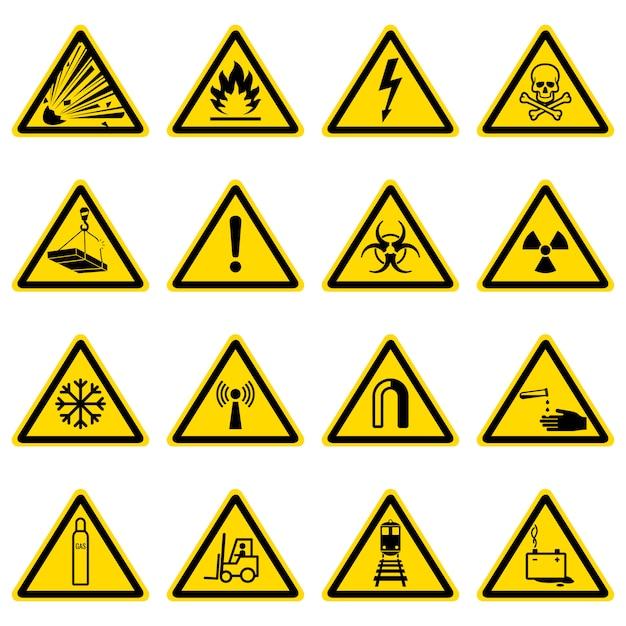 Symboles d'avertissement et de danger sur la collection de triangles jaunes Vecteur Premium