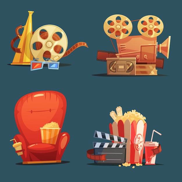 Symboles de cinéma Vecteur gratuit