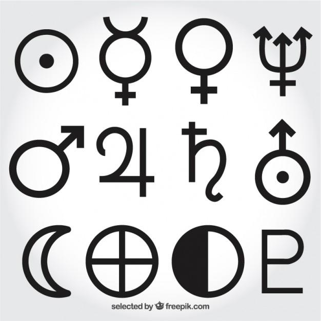 Symboles du système solaire Vecteur gratuit