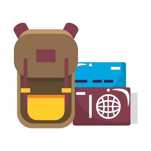 Symboles du voyage autour du monde Vecteur Premium