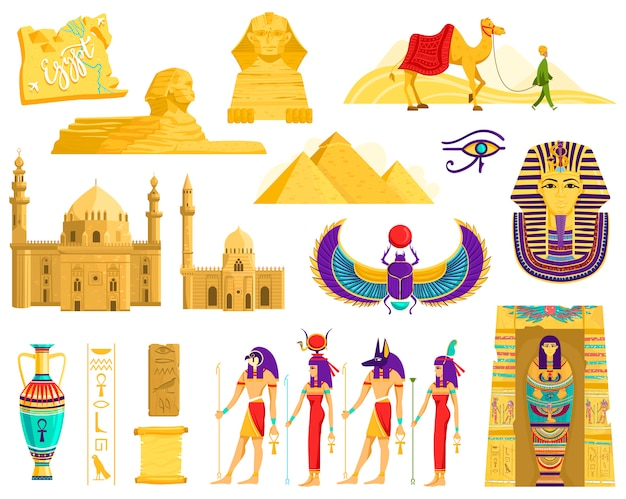 Symboles De L'égypte Ancienne, Monuments De L'architecture Et De L'archéologie Sur Blanc, Illustration Vecteur Premium