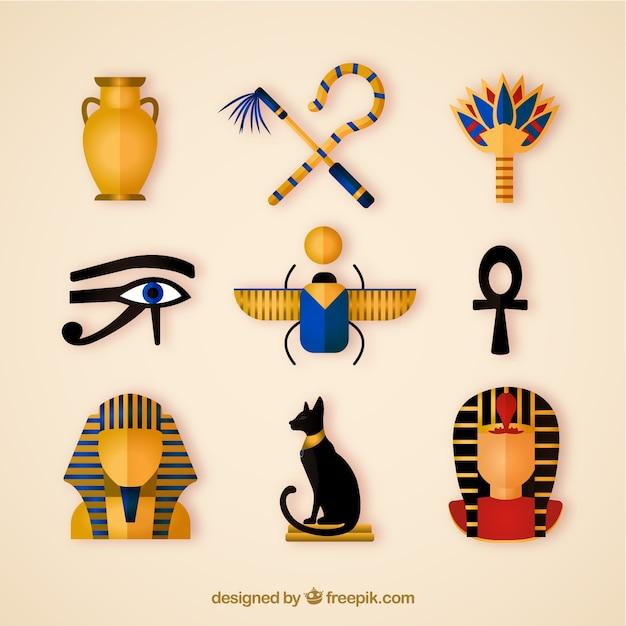 Symboles de l'egypte collectio Vecteur gratuit