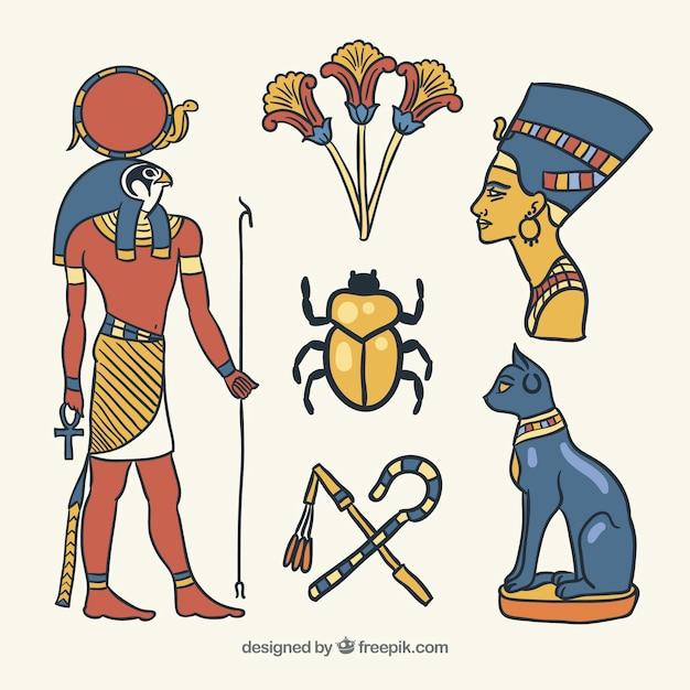 Symboles De L'egypte Et Les Dieux Mis En Style Dessiné à La Main Vecteur gratuit
