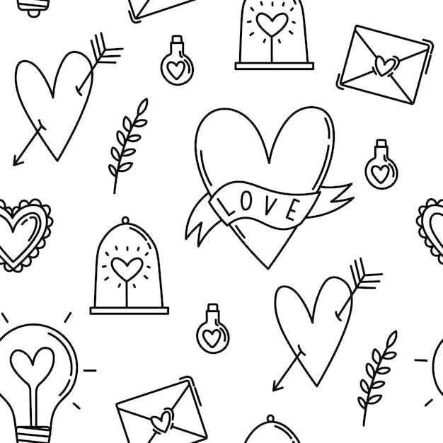Symboles Et éléments De Modèle Sans Couture Pour La Saint-valentin Vecteur Premium