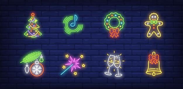 Symboles De Fête Du Nouvel An Dans Un Style Néon Vecteur gratuit