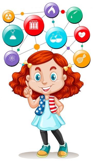 Symboles fille et science sur les boutons Vecteur gratuit