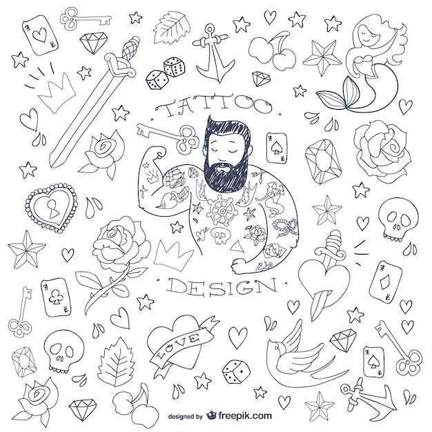Symboles Homme De Tatouage De Griffonnage Vecteur Premium