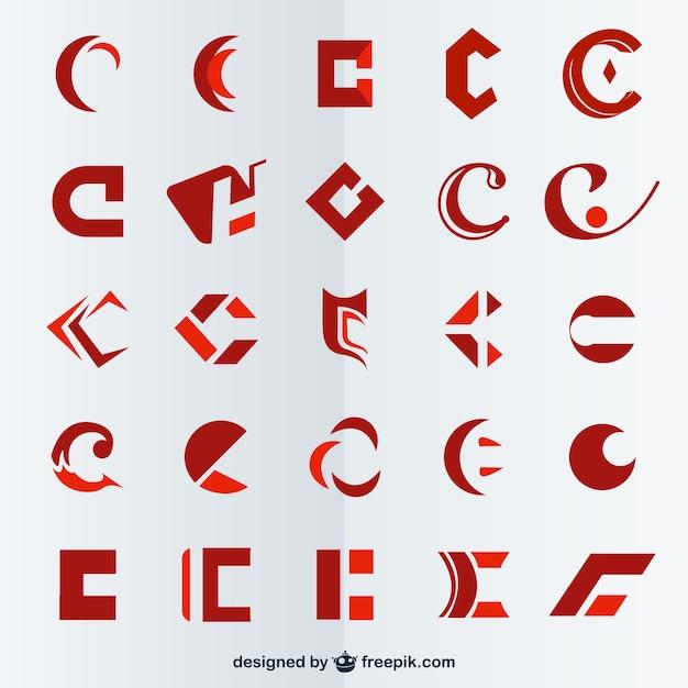 Symboles lettre c de vecteur Vecteur gratuit