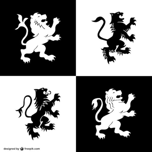 Symboles de lion d'héraldique fixés Vecteur gratuit