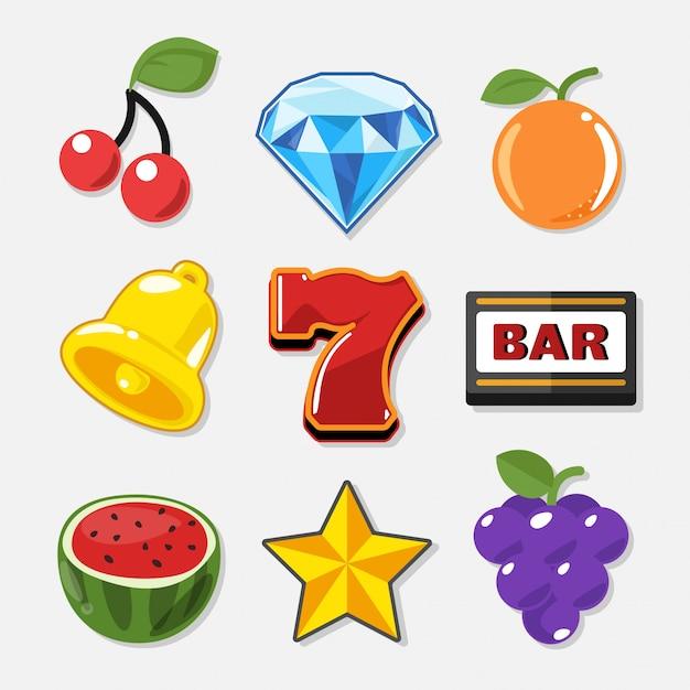 Symboles de machine à sous définis pour le jeu de casino. Vecteur Premium