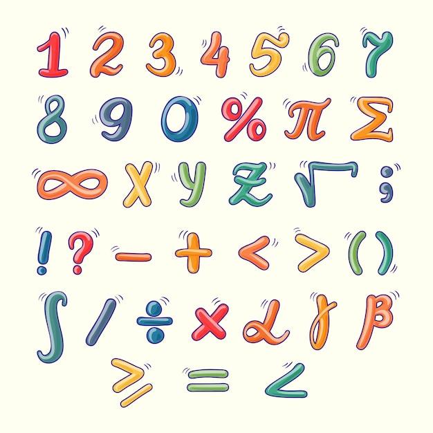 Symboles Mathématiques Dessinés à La Main Vecteur gratuit