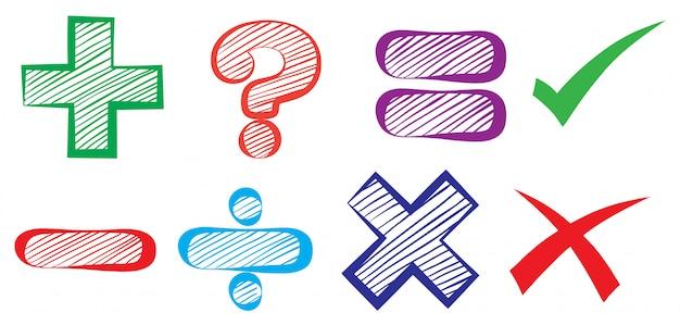 Symboles mathématiques Vecteur Premium
