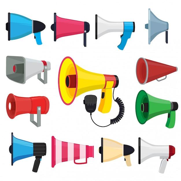Symboles pour la promotion et annoncer. images vectorielles des haut-parleurs Vecteur Premium