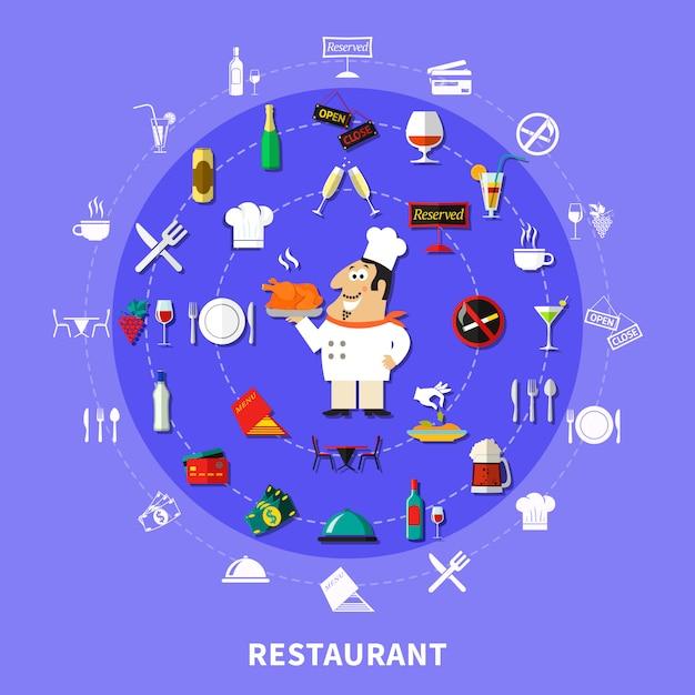 Symboles de restaurant autour de la composition Vecteur gratuit
