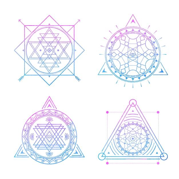 Symboles Sacrés Sur Aquarelle Bleu-violet. V Vecteur Premium