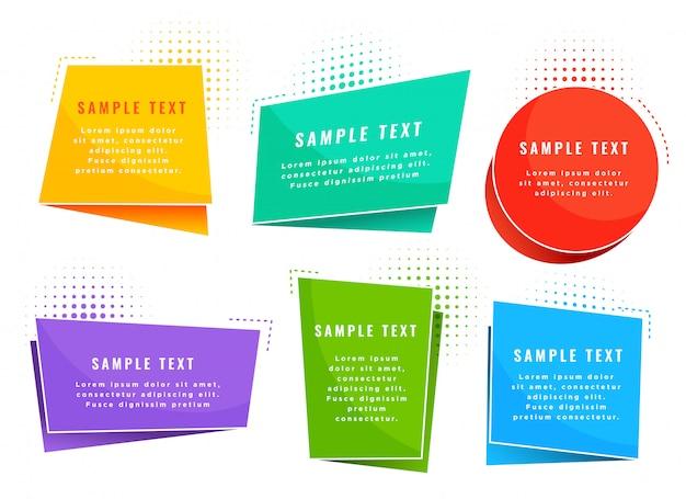 Symboles de tags de style origami coloré Vecteur gratuit