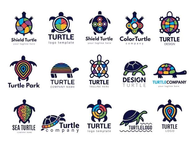 Symboles De La Tortue. Logo D'entreprise Animaux De La Mer Sauvage Tortue Vecteur Coloré Collection D'images Stylisées. Logo De Société De Tortue Animale, Illustration De Tortue De Mer Vecteur Premium